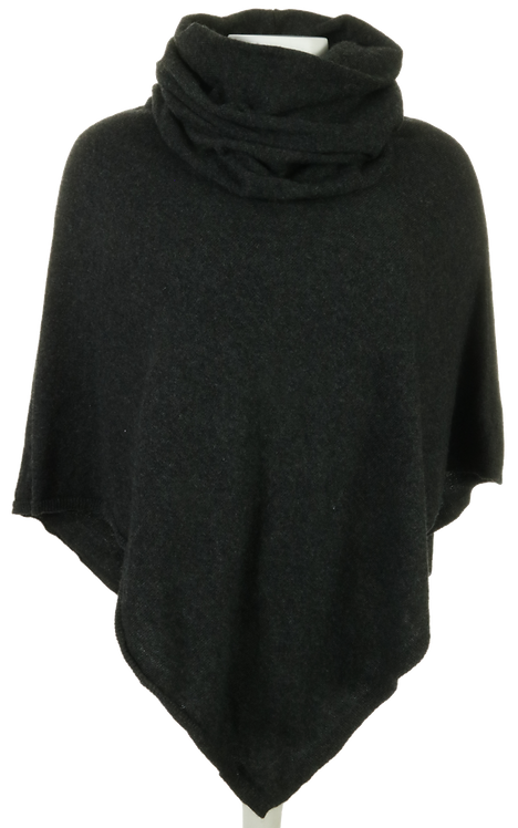 Cashmere Mix Cowl Neck Poncho - Anthracite