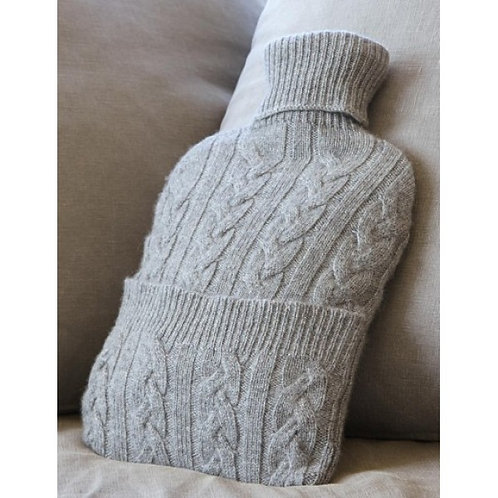 Cashmere Hot water Bottle Cover and insert - Grey