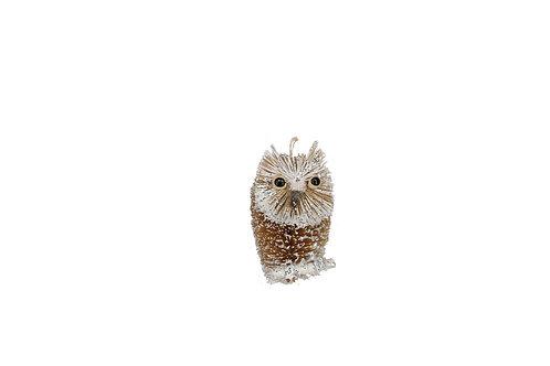 Bristle/Silver 9cm Owl Decoration