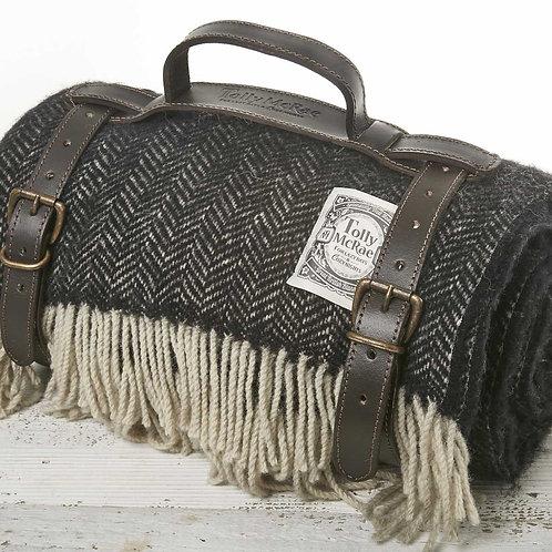 Picnic Rug in Leather Strap -  Black Herringbone  Pure Wool
