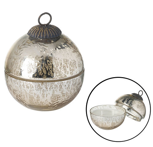 Wax Filled Antique Gold/Silver Bauble Votive  - Small