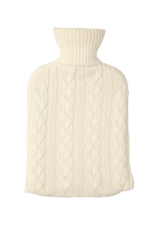 Cashmere Hot water Bottle Cover and insert - Soft White