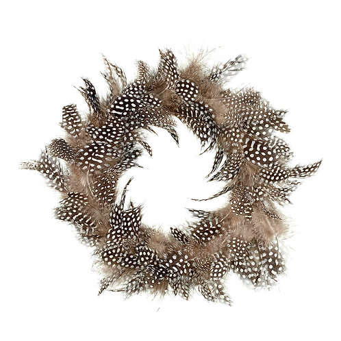 Feather Candle Ring/Wreath - Brown Speckled
