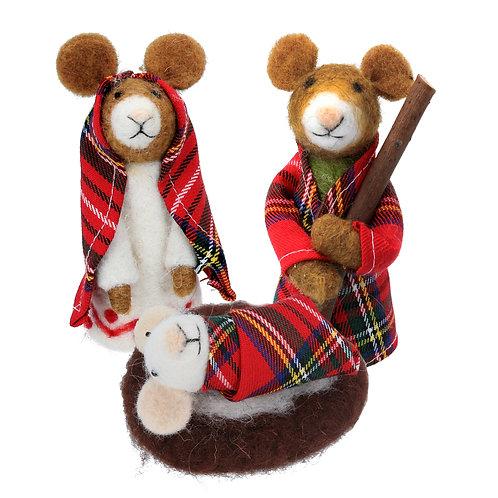 Wool Mix/Tartan Mice Nativity