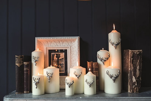 Set of Three Large Stag Candle Pins