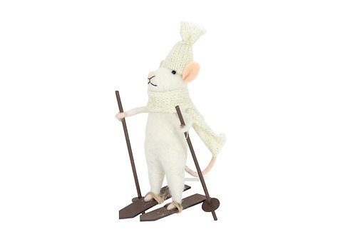 Wool Mix White Mouse on Ski's Decoration