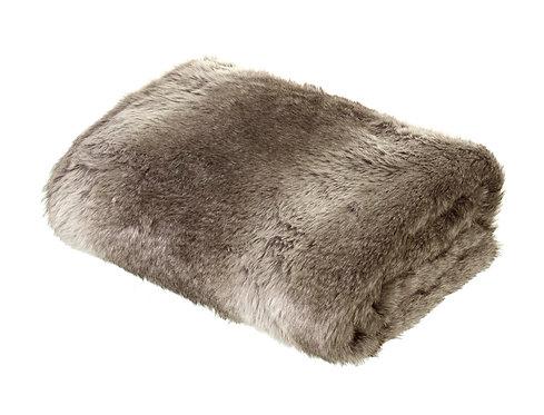 Arctic Wolf Throw - Lynx  Faux Fur (Minky /Brown colour)