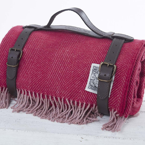 Picnic Rug in Leather Strap -  Apple Red in Pure Wool