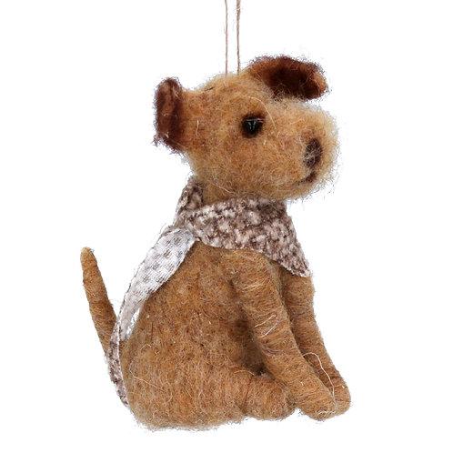 Wool Mix 12cm Sitting Dog with Scarf Decoration