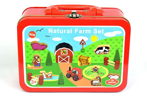 Wooden Farm in a Tin Case