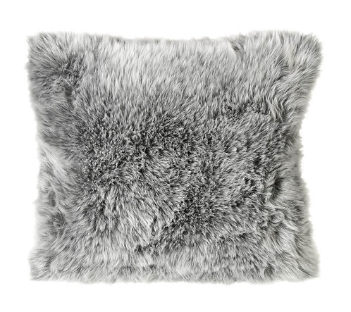 Arctic Wolf Cushion - Polyester filled/Grey Faux Fur