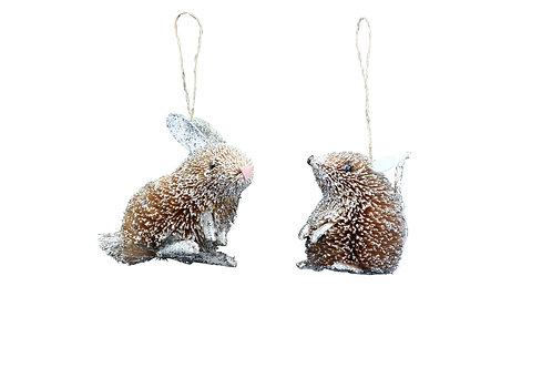 Bristle/Silver 9cm Mouse Decoration