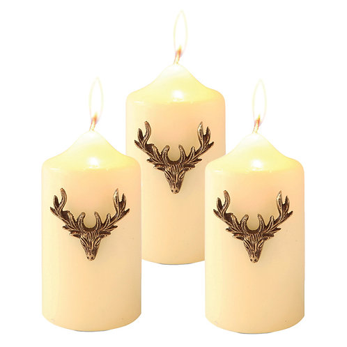 Set of Three Small Stag Candle Pins Vintage Gold