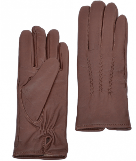 Ladies Soft Leather Gloves - Dark Tan - Large