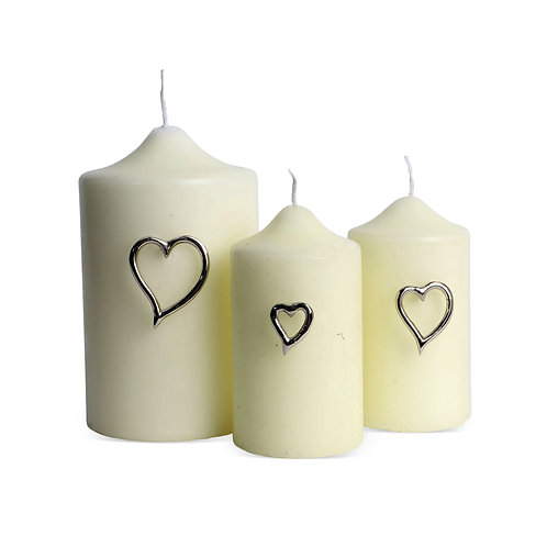 Amore Heart Candle Pins Set of Three
