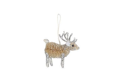 Bristle/Silver 9cm Reindeer Decoration