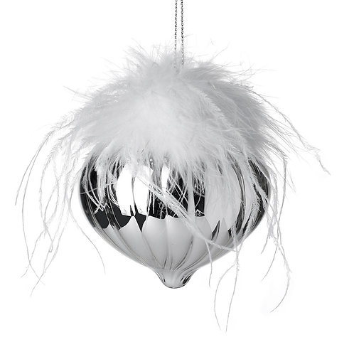 Silver Drop with White Feathers