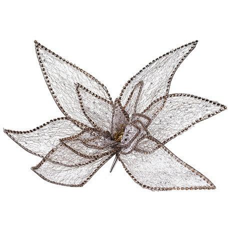 Gold/Silver Glitter Clip on Poinsettia