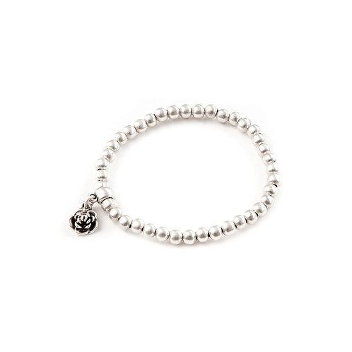 Treaty - Rosa Single Strand Elasticated bracelet with Rose Charm