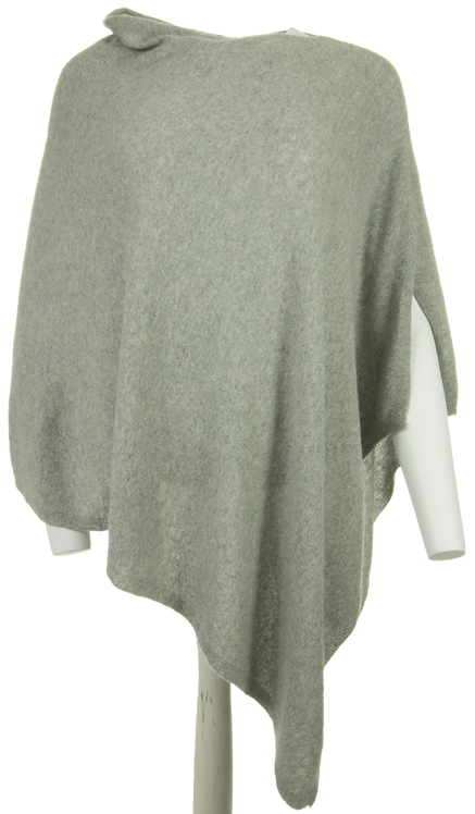 Cashmere Mix Classic Poncho - Silver