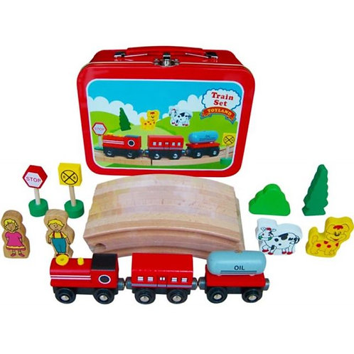 Wooden Train in a Tin Case