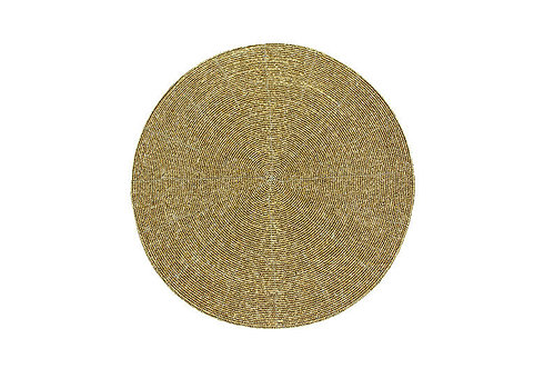 Circular Beaded Placemat - Antique Gold (Each)