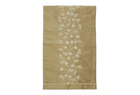 Embroidered Larch Table Runner - Gold