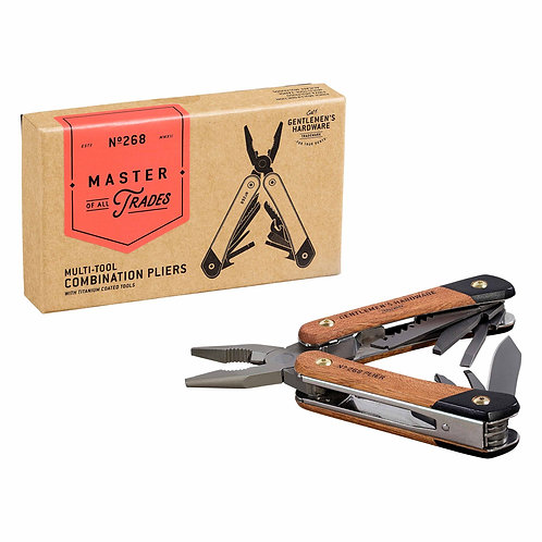 Plier Multi-Tool with Wooden Handle & Titanium Finish