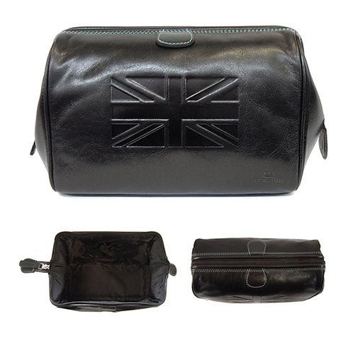 TYLER & TYLER DARK BROWN ITALIAN HIDE LEATHER WASHBAG – UNION JACK
