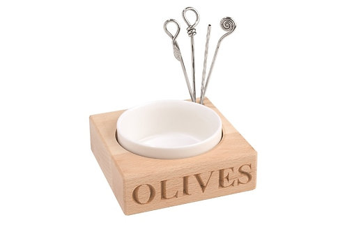 'Olives' Holder with porcelain dish and four picks
