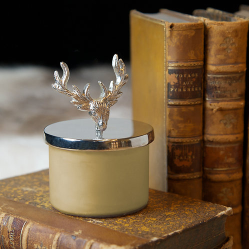 Small Stag Wax Filled Candle & Lid Snuffer