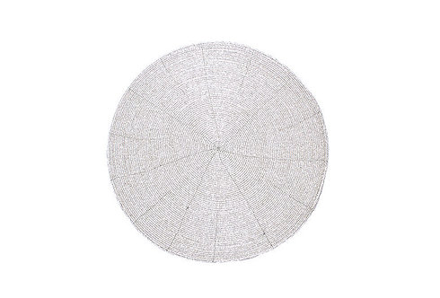 Circular Beaded Coasters - Silver set of 4