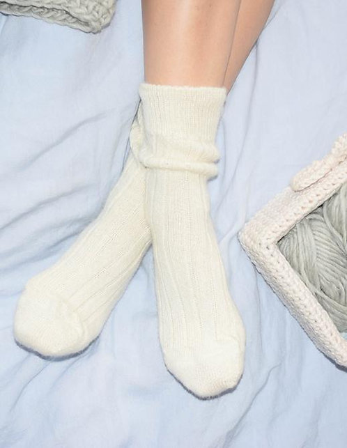 Baby Alpaca Bed Socks - Cream Large