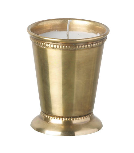 Wax filled Stainless Steel Votive in Antique Gold finish with Trim
