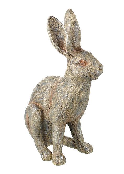 Medium Stone Effect Hare Sculpture - Resin