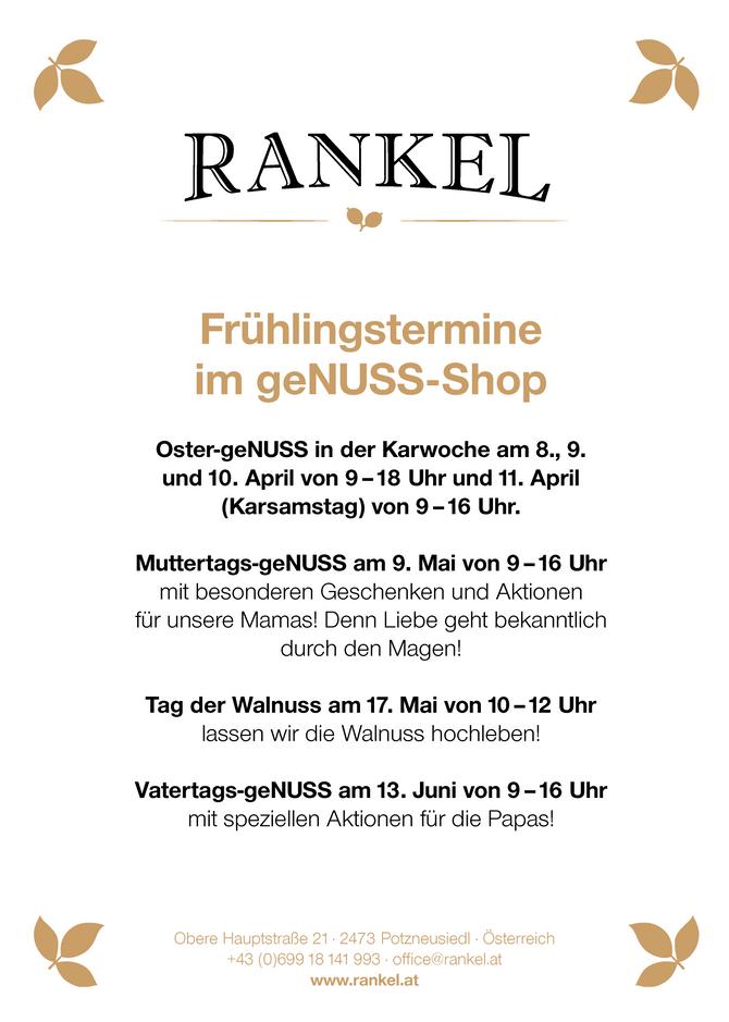 Frühjahrs-Termine im RANKEL geNUSS-Shop Potzneusiedl