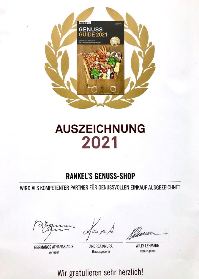 Auszeichnung für Rankel´s geNUSSshop