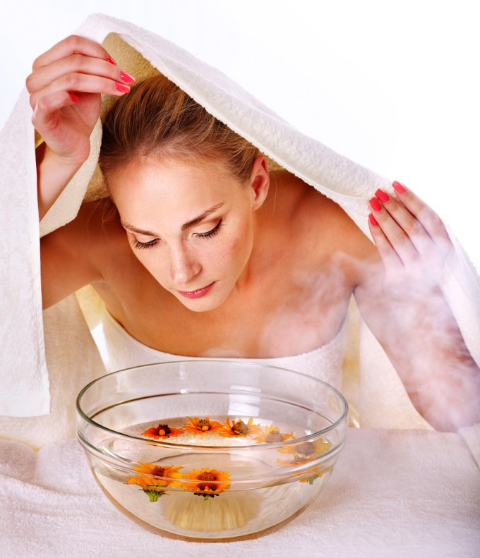 Facial massage with steam treatment.