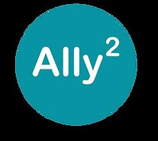Ally Squared logo, Ally^2 in an aqua circle