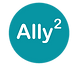 Ally Squared logo, Ally^2 in aqua circle
