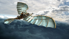 DaVinci Flying Machine - Web - Work: 3D modeling/texturing, lighting, rendering (Maya and VRay), background compositing, environment painting, color correction, color grading and conversions.