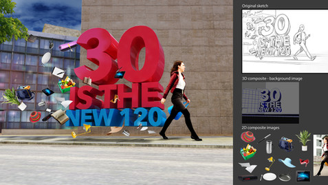 30 is the new 120 - Comp Art - Work: Photo composite, silhouetting, 3D modeling/texturing, elements and background, lighting, rendering (Maya, Illustrator and VRay), color correction and conversions.