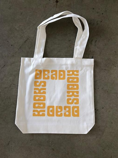White and gold tote