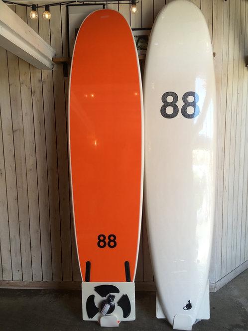 88surfbords 8'0white/orange/black LOGO