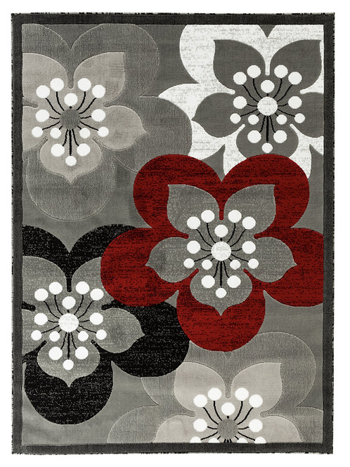 NEWPORT 82 GRAY RED FLORAL RUG