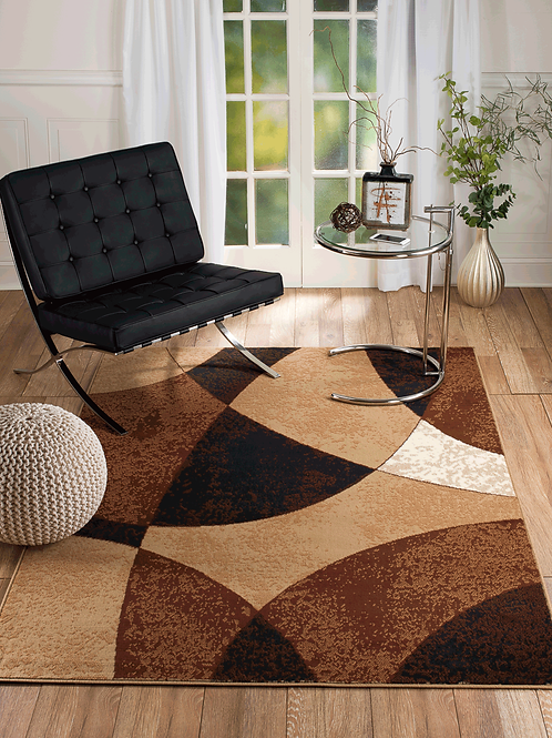 CHATAEU 023 BROWN BEIGE ABSTRACT AREA RUG