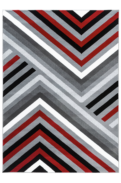 SUMMIT 111 GREY RED MODERN ABSTRACT AREA RUG