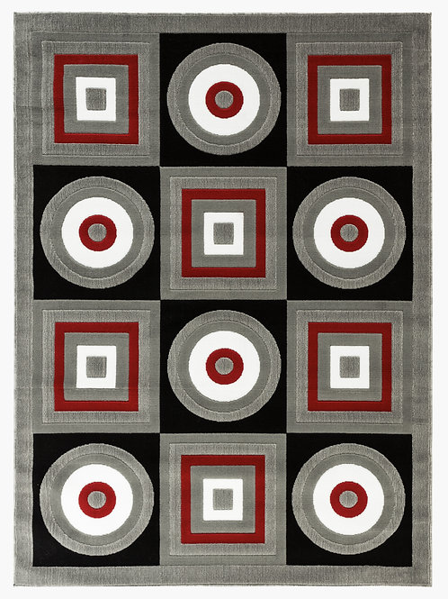 NEWPORT 58 GRAY RED BLACK RUG