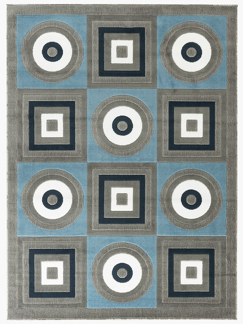 NEWPORT 59 BLUE GRAY GEOMETRIC RUG