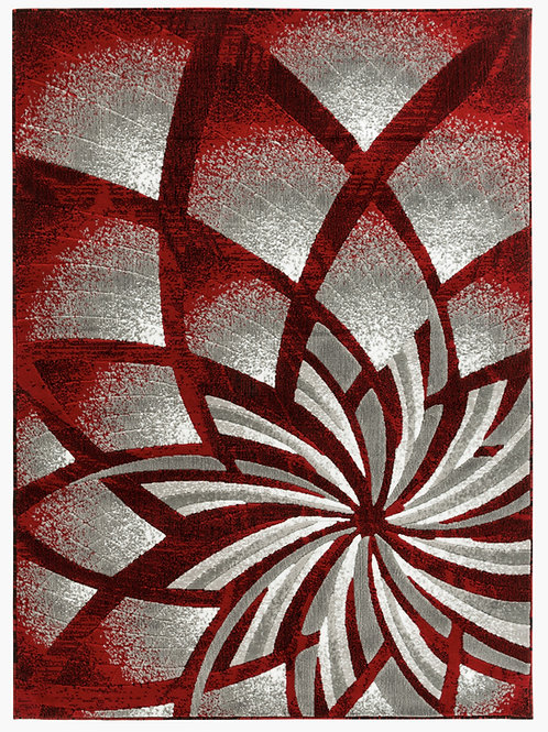 NEWPORT 62 RED GRAY ABSTRACT RUG